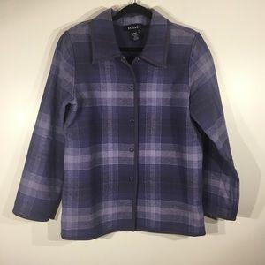 Denim &Co. Blue Plaid Cotton Jacket Coat